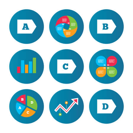 d mark: Business pie chart. Growth curve. Presentation buttons. Energy efficiency class icons. Energy consumption sign symbols. Class A, B, C and D. Data analysis. Vector Illustration