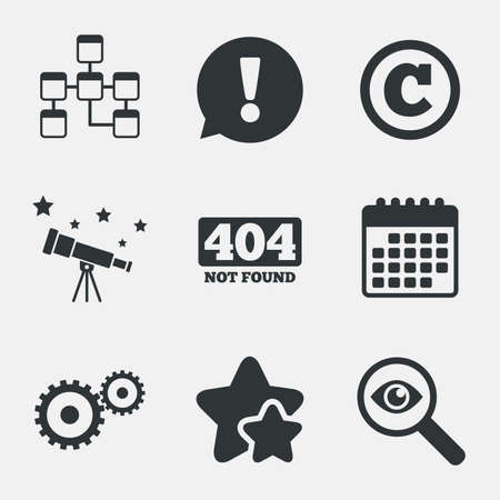 mysql: Website database icon. Copyrights and gear signs. 404 page not found symbol. Under construction. Attention, investigate and stars icons. Telescope and calendar signs. Vector
