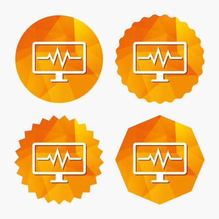 heart beats: Cardiogram monitoring sign icon. Heart beats symbol. Triangular low poly buttons with flat icon. Vector Illustration