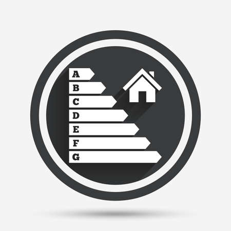 energy icon: Energy efficiency icon. Electricity consumption symbol. House building sign. Circle flat button with shadow and border. Vector