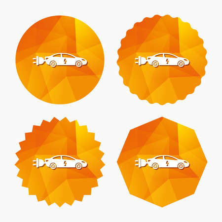 vehicle icon: Electric car sign icon. Sedan saloon symbol. Electric vehicle transport. Triangular low poly buttons with flat icon. Vector