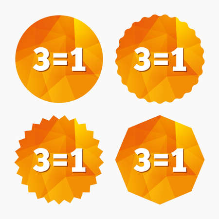equals: Three for one sign icon. Take three pay for one sale button. 3 equals 1. Triangular low poly buttons with flat icon. Vector