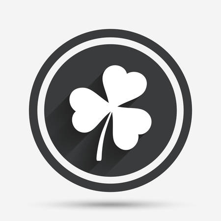 clover buttons: Clover with three leaves sign icon. Trifoliate clover. Saint Patrick trefoil symbol. Circle flat button with shadow and border. Vector Illustration
