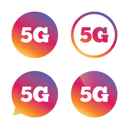 telephony: 5G sign icon. Mobile telecommunications technology symbol. Gradient buttons with flat icon. Speech bubble sign. Vector