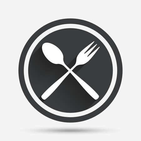 crosswise: Eat sign icon. Cutlery symbol. Dessert fork and teaspoon crosswise. Circle flat button with shadow and border. Vector