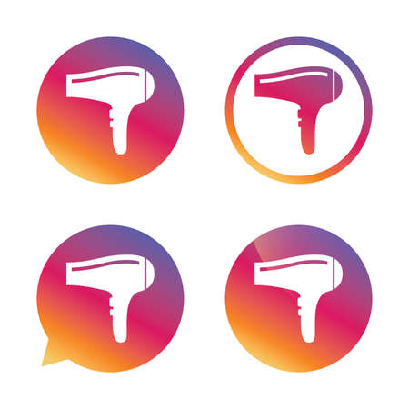 Hairdryer sign icon. Hair drying symbol. Gradient buttons with flat icon. Speech bubble sign. Vector Illustration