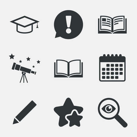 higher: Pencil and open book icons. Graduation cap symbol. Higher education learn signs. Attention, investigate and stars icons. Telescope and calendar signs. Vector Illustration