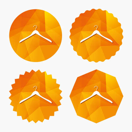 cloakroom: Hanger sign icon. Cloakroom symbol. Triangular low poly buttons with flat icon. Vector Illustration