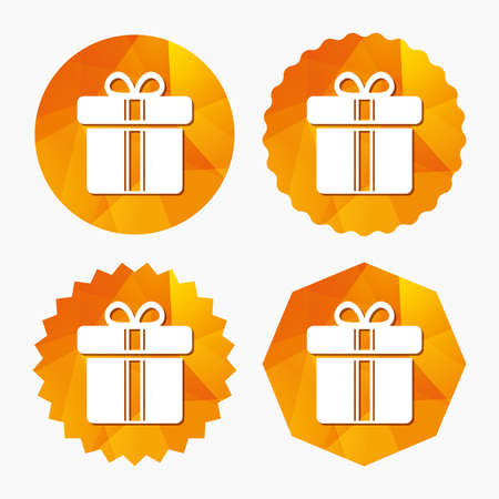 Gift box sign icon. Present with ribbons symbol. Triangular low poly buttons with flat icon. Vector