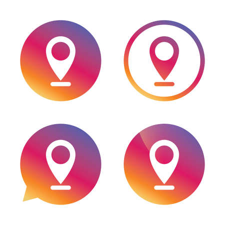 internet mark: Internet mark icon. Navigation pointer symbol. Position marker sign. Gradient buttons with flat icon. Speech bubble sign. Vector