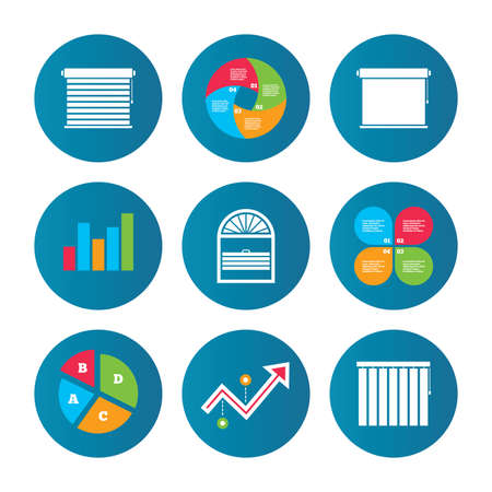 Business pie chart. Growth curve. Presentation buttons. Louvers icons. Plisse, rolls, vertical and horizontal. Window blinds or jalousie symbols. Data analysis. Vector Illustration