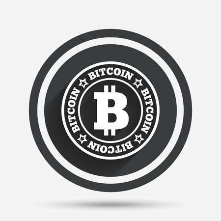 p2p: Bitcoin sign icon. Cryptography currency symbol. P2P. Circle flat button with shadow and border. Vector Illustration