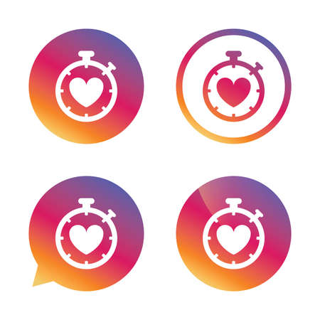 palpitation: Heart Timer sign icon. Stopwatch symbol. Heartbeat palpitation. Gradient buttons with flat icon. Speech bubble sign. Vector