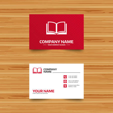 Business card template. Book sign icon. Open book symbol. Phone, globe and pointer icons. Visiting card design. Vector 矢量图像