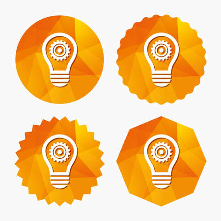 Light lamp sign icon. Bulb with gear symbol. Idea symbol. Triangular low poly buttons with flat icon. Vector
