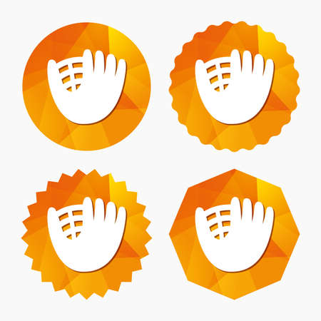 mitt: Baseball glove or mitt sign icon. Sport symbol. Triangular low poly buttons with flat icon. Vector