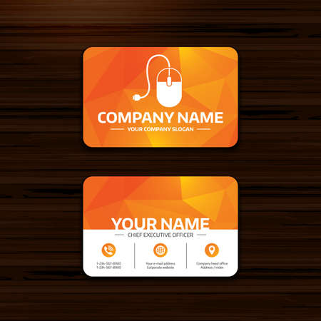 Business or visiting card template computer mouse sign icon business or visiting card template computer mouse sign icon optical with wheel symbol accmission Image collections