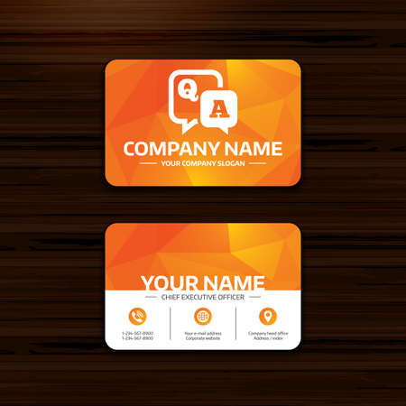 qa: Business or visiting card template. Question answer sign icon. Q&A symbol. Phone, globe and pointer icons. Vector