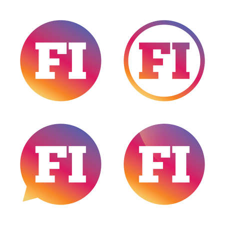 finnish: Finnish language sign icon. FI Finland translation symbol. Gradient buttons with flat icon. Speech bubble sign. Vector