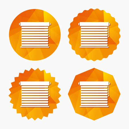 jalousie: Louvers sign icon. Window blinds or jalousie symbol. Triangular low poly buttons with flat icon. Vector Illustration