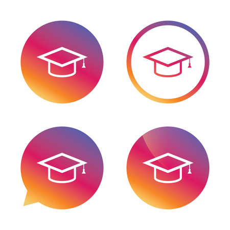 Graduation cap sign icon. Higher education symbol. Gradient buttons with flat icon. Speech bubble sign. Vector