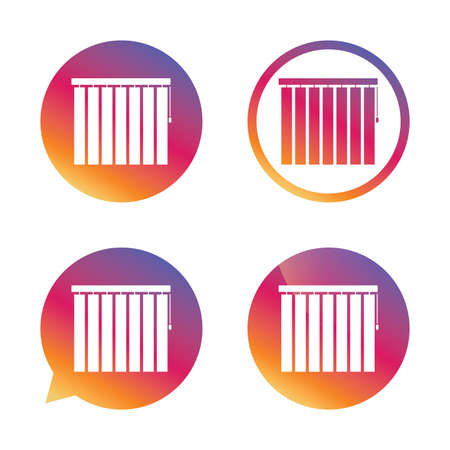blinds: Louvers vertical sign icon. Window blinds or jalousie symbol. Gradient buttons with flat icon. Speech bubble sign. Vector