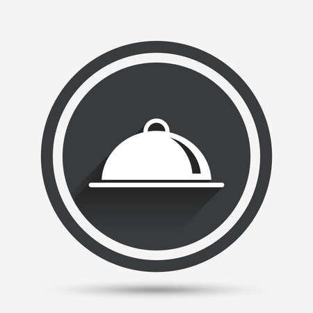 table setting: Food platter serving sign icon. Table setting in restaurant symbol. Circle flat button with shadow and border. Vector Illustration