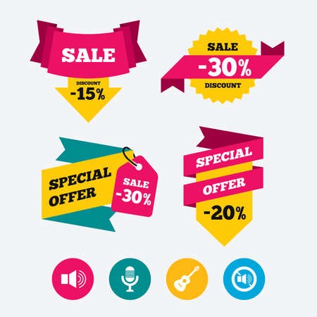 sound speaker: Musical elements icons. Microphone and Sound speaker symbols. No Sound and acoustic guitar signs. Web stickers, banners and labels. Sale discount tags. Special offer signs. Vector Illustration
