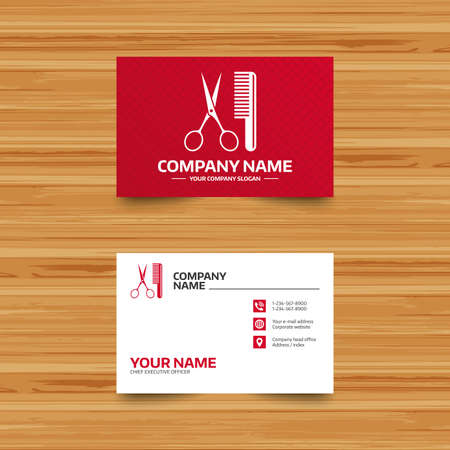 comb hair: Business card template. Comb hair with scissors sign icon. Barber symbol. Phone, globe and pointer icons. Visiting card design. Vector
