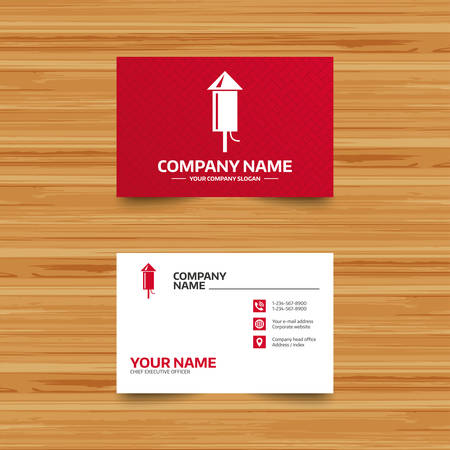 pyrotechnic: Business card template. Fireworks rocket sign icon. Explosive pyrotechnic device symbol. Phone, globe and pointer icons. Visiting card design. Vector