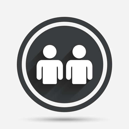 circle of friends: Friends sign icon. Social media symbol. Circle flat button with shadow and border. Vector Illustration