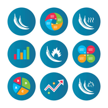 growth hot: Business pie chart. Growth curve. Presentation buttons. Hot chili pepper icons. Spicy food fire sign symbols. Data analysis. Vector Illustration