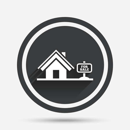 broker: Home sign icon. House for sale. Broker symbol. Circle flat button with shadow and border. Vector Illustration