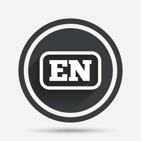 en: English language sign icon. EN translation symbol with frame. Circle flat button with shadow and border. Vector