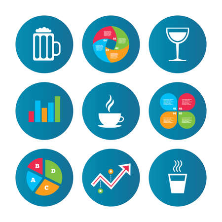growth hot: Business pie chart. Growth curve. Presentation buttons. Drinks icons. Coffee cup and glass of beer symbols. Wine glass sign. Data analysis. Vector