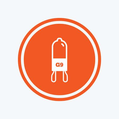 Light bulb icon. Lamp G9 socket symbol. Led or halogen light sign. Graphic design element. Flat g9 lamp symbol on the round button. Vector