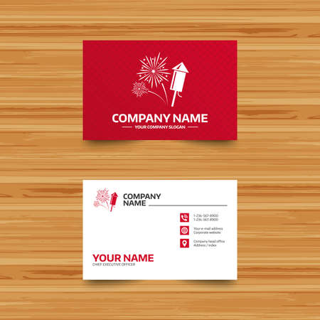 pyrotechnic: Business card template. Fireworks with rocket sign icon. Explosive pyrotechnic symbol. Phone, globe and pointer icons. Visiting card design. Vector