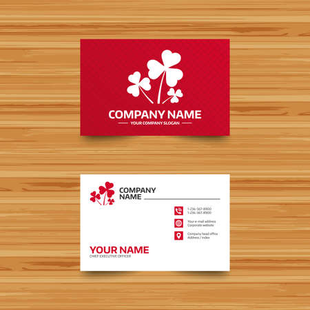 three pointer: Business card template. Clovers with three leaves sign icon. Saint Patrick trefoil shamrock symbol. Phone, globe and pointer icons. Visiting card design. Vector
