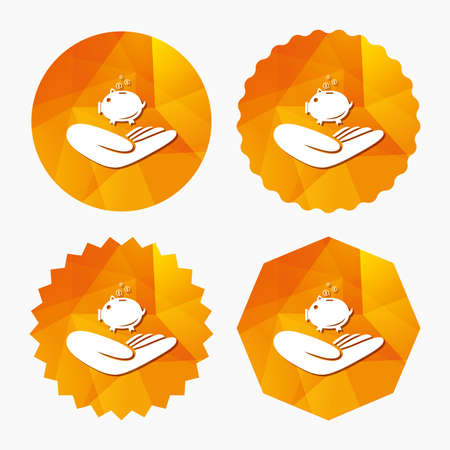 endowment: Donation hand sign icon. Hand holds Piggy bank. Charity or endowment symbol. Human helping hand palm. Triangular low poly buttons with flat icon. Vector