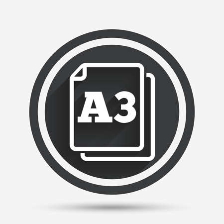 a3: Paper size A3 standard icon. File document symbol. Circle flat button with shadow and border. Vector