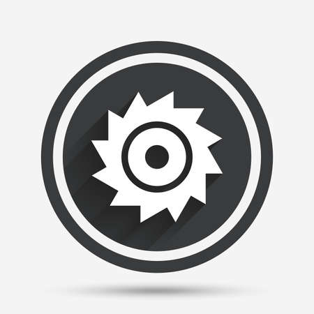 cutting blade: Saw circular wheel sign icon. Cutting blade symbol. Circle flat button with shadow and border. Vector Illustration