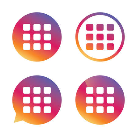 thumbnails: Thumbnails grid sign icon. Gallery view option symbol. Gradient buttons with flat icon. Speech bubble sign. Vector Illustration