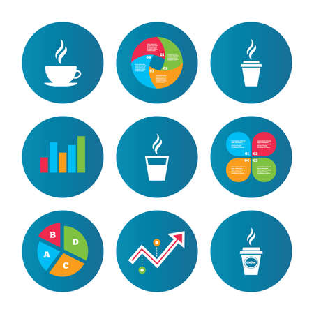 take out: Business pie chart. Growth curve. Presentation buttons. Coffee cup icon. Hot drinks glasses symbols. Take away or take-out tea beverage signs. Data analysis. Vector