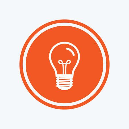 enchufe de luz: Light bulb icon. Lamp E27 screw socket symbol. Illumination sign. Graphic design element. Flat e27 lamp symbol on the round button. Vector