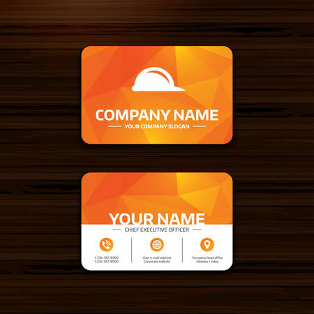 hard hat icon: Business or visiting card template. Hard hat sign icon. Construction helmet symbol. Phone, globe and pointer icons. Vector