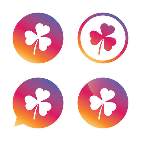 clover buttons: Clover with three leaves sign icon. Trifoliate clover. Saint Patrick trefoil symbol. Gradient buttons with flat icon. Speech bubble sign. Vector
