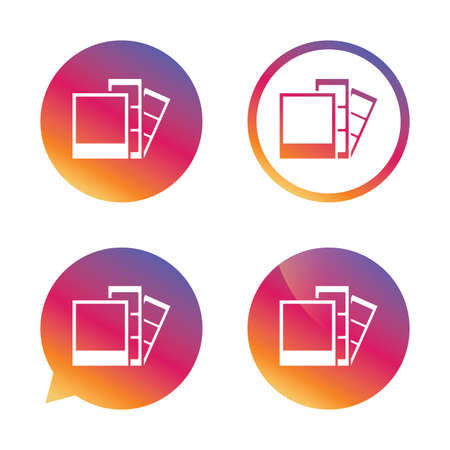 photo icon: Photo frame template sign icon. Photo booth strips symbol. Gradient buttons with flat icon. Speech bubble sign. Vector