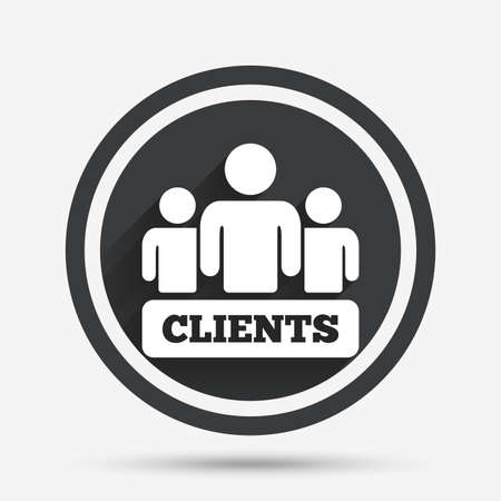 shadow people: Clients sign icon. Group of people symbol. Circle flat button with shadow and border. Vector Illustration