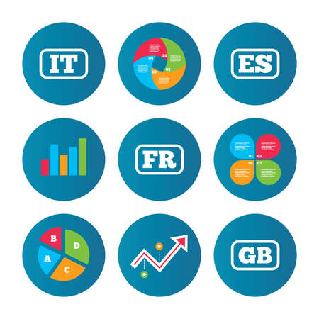business it: Business pie chart. Growth curve. Presentation buttons. Language icons. IT, ES, FR and GB translation symbols. Italy, Spain, France and England languages. Data analysis. Vector