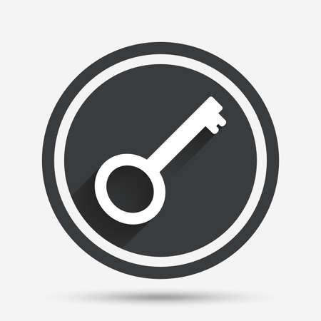 tool unlock: Key sign icon. Unlock tool symbol. Circle flat button with shadow and border. Vector
